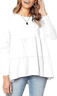 Women's Long Sleeve Loose T Shirt Babydoll Peplum Tee High Low Hem Tops Casual Blouse Shirts