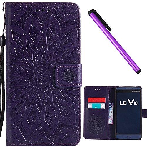 LG V10 Case Cover EMAXELER Stylish Wallet 3D Embossed Kickstand Flip Sun Flower Three Dimensional Cards Slot Cash Pockets PU Leather for LG V10 Sun Purple
