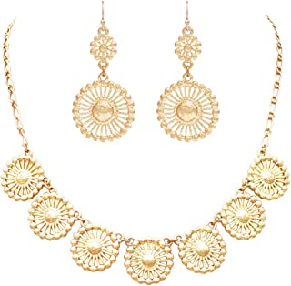 Rosemarie Collections Women's Beautiful Metal Filigree Disc Doily Necklace Earring Set