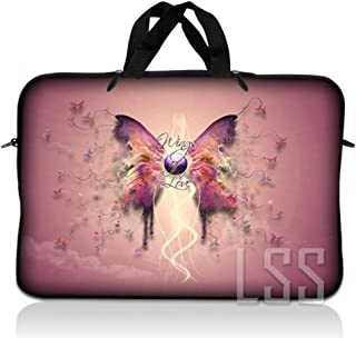 LSS 17 17.3 inch Laptop Sleeve Bag Compatible with Acer, Asus, Dell, HP, Sony, MacBook and more   Carrying Case Pouch w/Handle,Pink Butterfly Floral