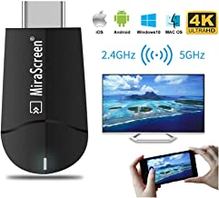 [Upgraded] MiraScreen 2.4G/5G WiFi Display Dongle Wireless HDMI Receiver Adapter TV Stick Dual Core Dual Decoder Dual Band Support 4K/1080P Miracast Airplay DLNA No Modes Switching