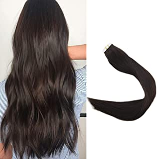 Full Shine 24 Inch Darkest Brown Real Human Hair Extensions Seamless Tape In Extensions Brazilian Remy Hair Skin Weft 20 Pieces 50 Grams Per Package