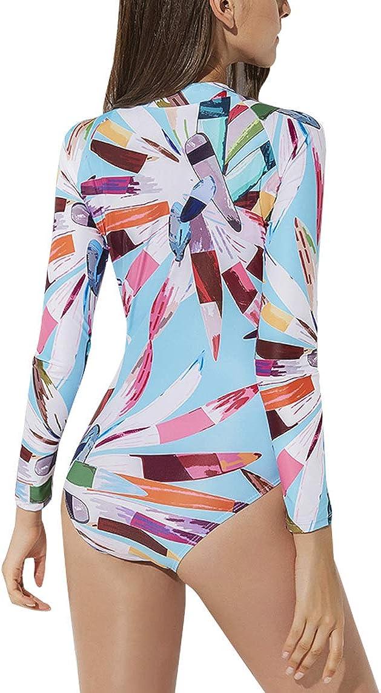 FEOYA Women Onesie Swimsuit Long Sleeve Rash Guard UV Protection Floral Surfing Swimwear