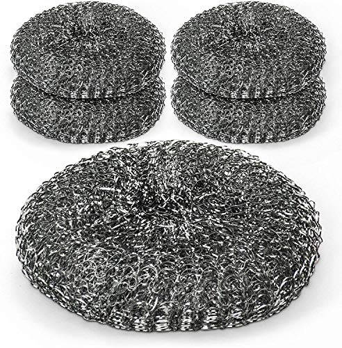 A1SONIC Stainless Steel Wire Mesh Dish Scrubber Sponge, Commercial Quality Multipurpose Scourers Perfect for Kitchen, Remove Tough Grease and Dirt(Pack of 6)