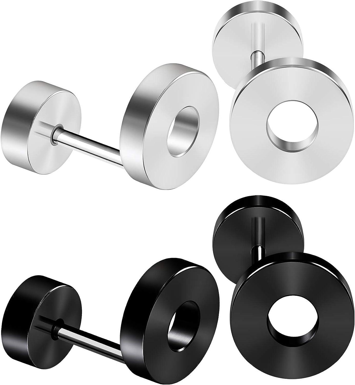 BIG GAUGES 2 Pairs Stainless Steel Anodized 16gauges 1.2 mm Size 8mm Black White Fake Plug Flesh Tunnel Piercing Jewelry Ear Lobe BG2922