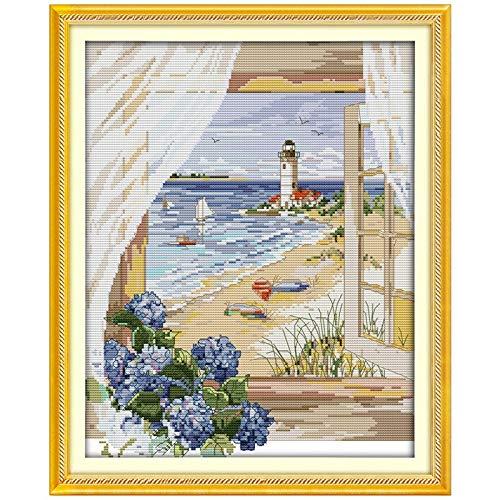 Seascape draußen vor dem Fenster Kreuzstich 11CT 14CT Querheftung gesetzte Landschaft Kreuzstich Kits Stickerei Needlework Kreuzstich-Malerei (Cross Stitch Fabric CT number : 14CT blank canvas)