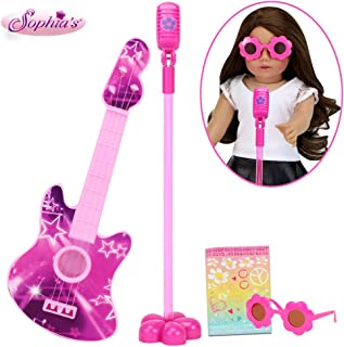 Sophia's Rock 'n Roll Play Set for Dolls, Pink | Doll Guitar, Microphone and Rockstar Sunglasses for 18 Inch Dolls