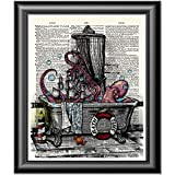 Octopus Print, Art Print on real dictionary book page, Bathroom Decor