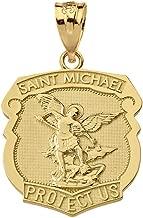 14k Yellow Gold Saint Michael Protect Us Shield Shaped Medal Pendant