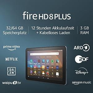 Fire HD 8 Plus-Tablet, 8-Zoll-HD-Display, 32 GB, Schiefergrau, Mit Werbung   Unser bestes 8-Zoll-Tablet für Unterhaltung unterwegs