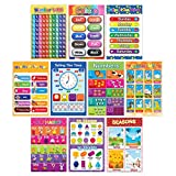 """10 Wall poster - These large 11x16"""" size cardstock posters are the perfect scholastic teaching tool for students & children. Included ABCs, Shapes, Colors, Farm Animals, Numbers 1-10, Numbers 1-100, Days of the week, Months of the year, Seasons, Time..."""