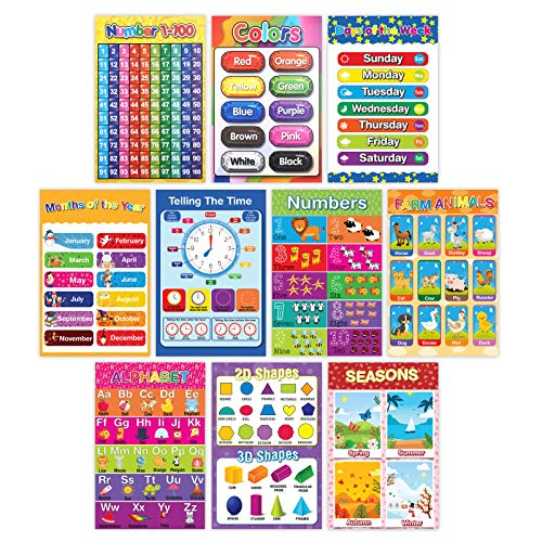 Educational Preschool Learning Poster for Toddler, Pre-K, Kindergarten, Daycares, Classroom, Homeschool Teachers - Incl Alphabet, Colors, Shapes, Numbers, Farm Animals and More - 16 x 11 Inch, 10 Pcs