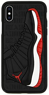 iPhone Xs Max Case, Jordan 11s 3D Textured Sneaker Shockproof Protective Grippy Case (Breds (Red))
