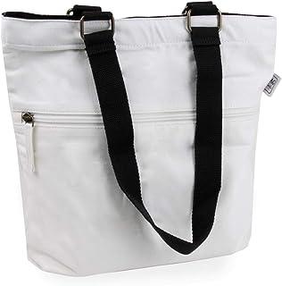 Cottonbagjoe Cottonbagjoe kleine Tragetasche | 2 Langen Henkel | 36 x 32 x 8 cm | mit Reißverschluss, und großem Boden | Baumwolltasche | Handtasche | Einkaufstasche | Segeltuch Material | Canvastasche