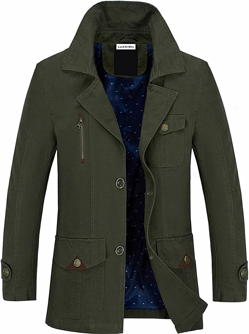 LuckiEriBov Men Notched Lapel Popular shop is the lowest price challenge Cotton Windproof Max 57% OFF Jacket Lightweigh