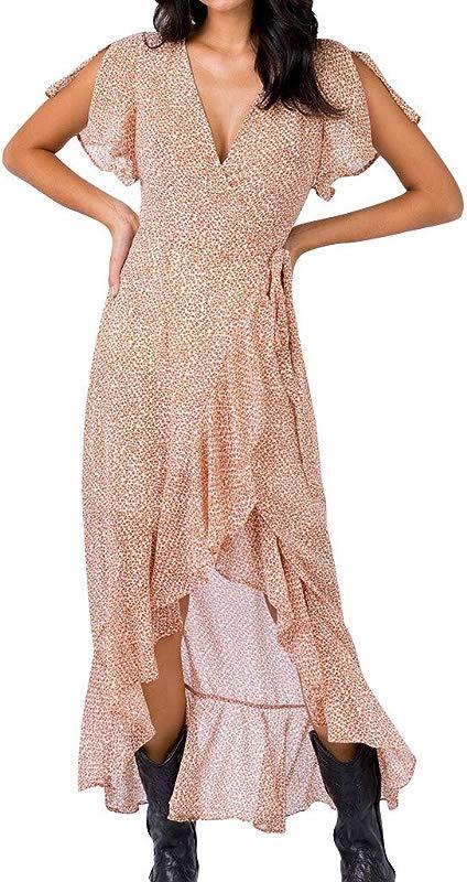 Staron Women S Casual Maxi Dresses Flare Sleeve Split Long Dress Wrap Cross V Neck Ruffles Beach Party Maxi Dress