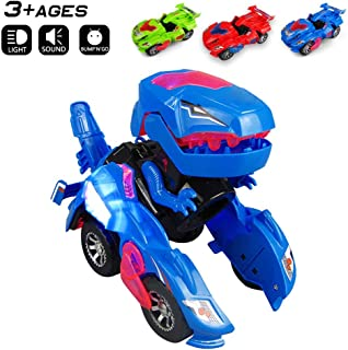 Odizli Transforming Dinosaur LED Car Toys for Kid Boys Halloween (Blue)