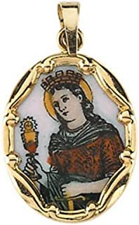 14k Yellow Gold St. Barbara Hand-Painted Porcelain Medal
