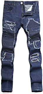 Mens Personality Embroidered Jeans Patch Slim Stretch Denim Trousers