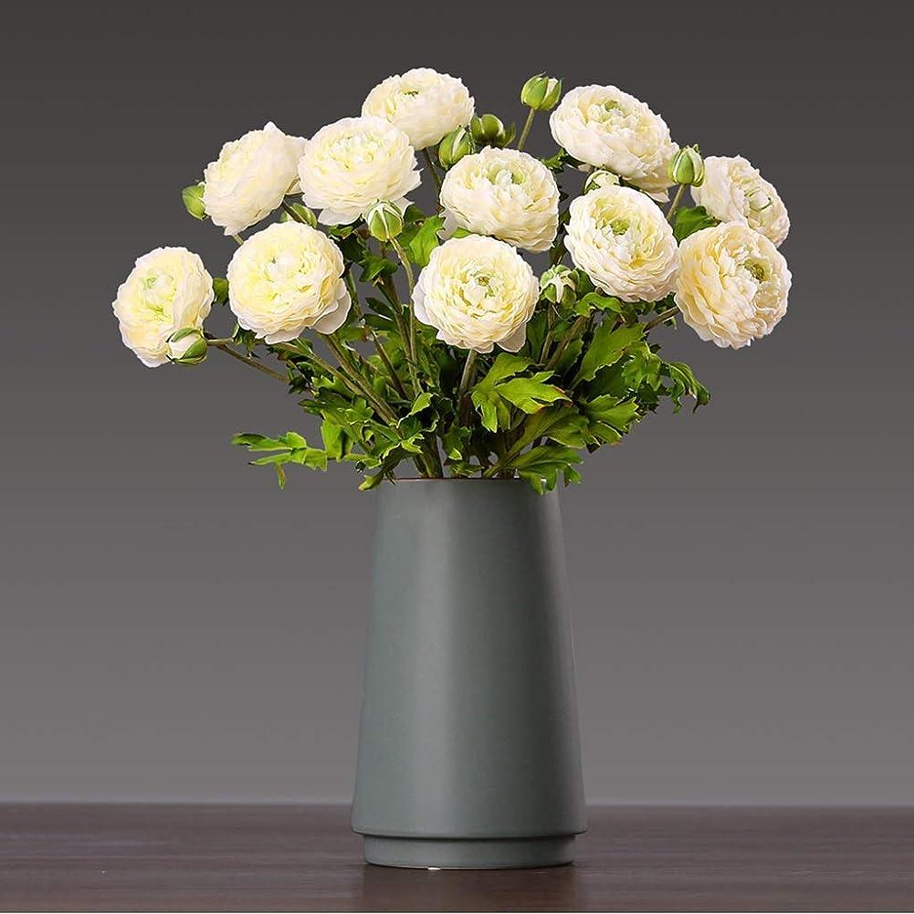 パフトリクル適用済み花瓶 シンプルな無地の高温度文学感装飾花瓶テクスチャプロセス小さなブーケセラミック (Size : Medium)