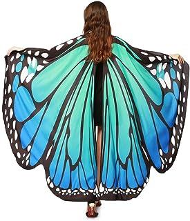 ❤️schmetterling kostüm, KOBAY Frauen Weiches Gewebe Schmetterlingsflügel Schal Fee Damen Nymph Pixie Kostüm Zubehör für Show/Daily/Party