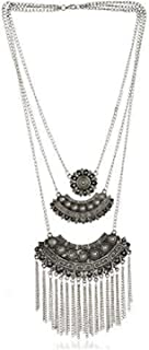 Total Fashion Oxidized Silver and Chain Necklace for Girl's - (Silver)