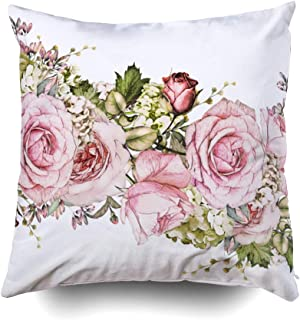 GROOTEY Square Pillow Case with Zippered for Home Sofa Decor 20X20Inch Costom Throw Cover Cushion, Isolated Border Pink Flowers Leaves Vintage Watercolor Floral Pattern Leaf Rose Pastel