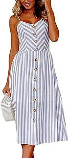 Urbanization Midi Dress for Women Sleeveless Off Shoulder Backless Button Shoulder-Strap Stripe Gown