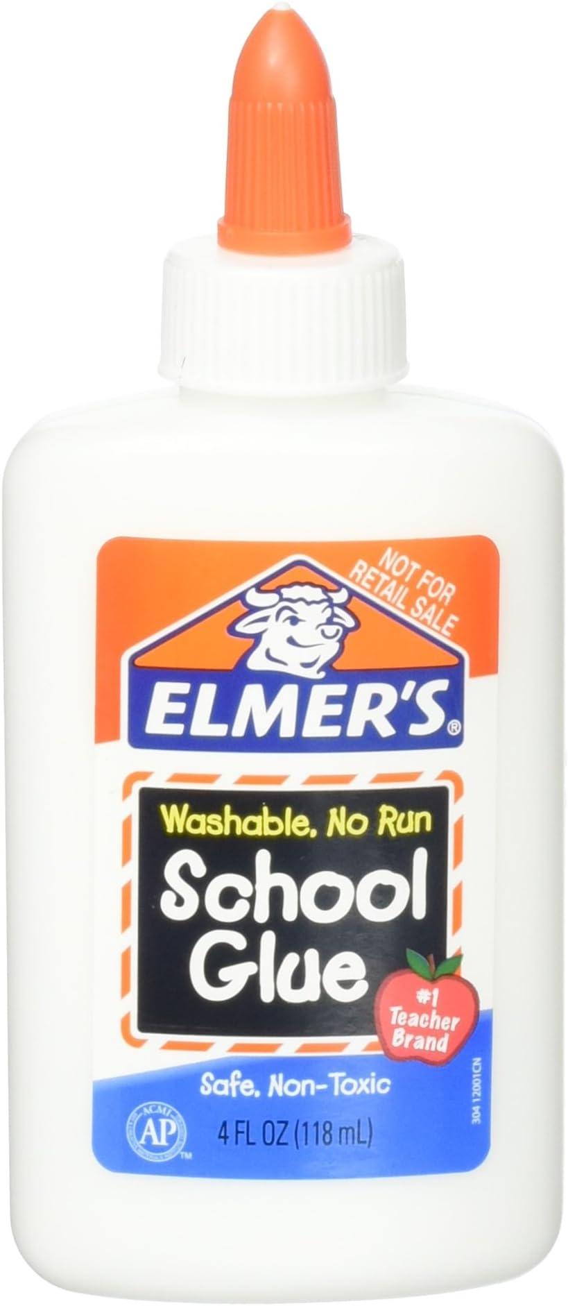 Elmer's Washable No Run School Glue, 4 Ounces, White and Dries Clear