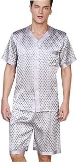 100 Pure Silk Pyjamas for Men, Printing Button-Down Short Pajamas Set, Loungewear Short Sleeved PJ Set Nightwear Sleepwear...