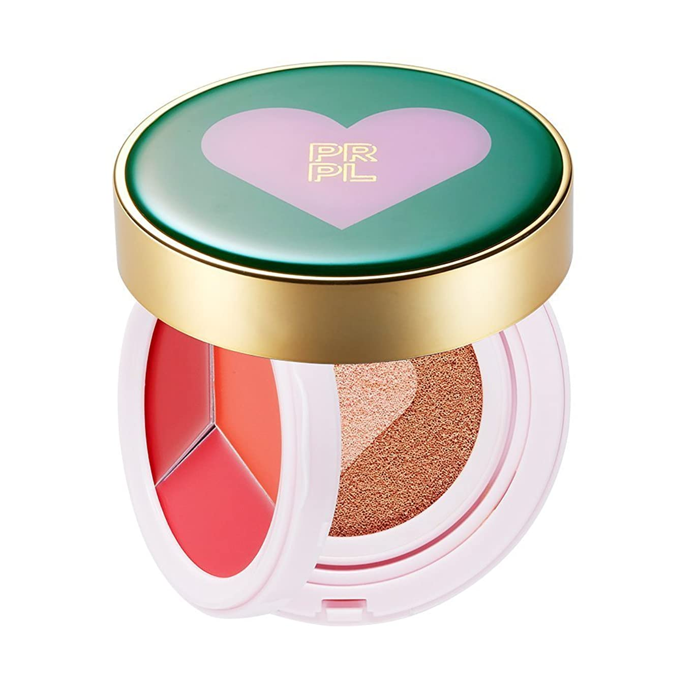 魅惑的な因子詩PRPL Kiss&Heart Cushion (Lip Glow Pink/Lip Glow Orange/Lip Glow Red) Triple Heart Cushion Compact (SPF50+, PA+++) (#23 Pure Beige) Korean Make-up Cosmetics