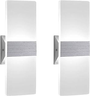 2 Pcs Lámpara de Pared LED 12W, Interior Apliques de Pared Moderna Acrílico, Iluminación Interior para Decoració para Dormitorio Salón y habitación, Blanco Frío