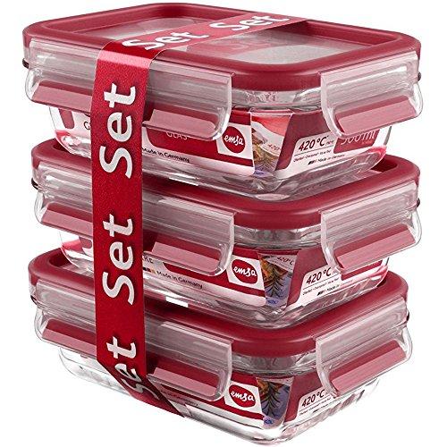 Emsa 517922 Clip & Close 3-teiliges Frischhaltedosen-Set, Fassungsvermögen: 0,5 Liter, Material: Glas, rot