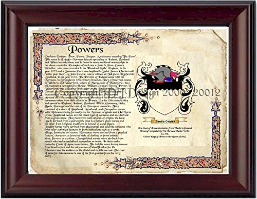 Powers Coat of Arms/ Family Crest on Fine Paper and Family History