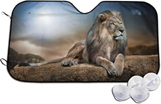 VIVIAN RICE Animals Lion Print Foldable Car Windshield Sun Shade,for Most Sedans SUV Trucks Minivan Automotive,Keep Your Vehicle Cool
