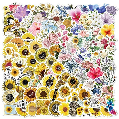 PMSMT 10/50/100 Uds, Flor de Girasol Colorida, Bonita Pegatina de Grafiti Fresca para Ordenador portátil, monopatín, Equipaje, Pegatinas para Nevera