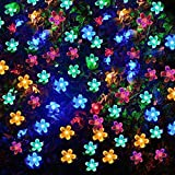 VMANOO Solar Outdoor Christmas String Lights 21ft 50 LED Fairy Flower Blossom Decorative Light for Indoor Garden Patio Party Xmas Tree Decorations Multi-Color