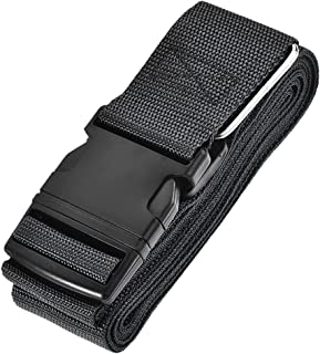 uxcell Luggage Strap Suitcase Belt with Buckle, 4Mx5cm Cross Adjustable PP Travel Packing Accessory, Black
