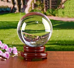 Clear Crystal Ball MerryNine 110mm Art Decor K9 Crystal Orb With Extra-Wide Wooden Stand