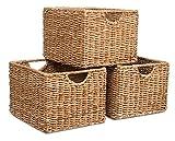 BIRDROCK HOME Storage Shelf Organizer Baskets with Handles - Set of 3 - Seagrass Wicker Basket - Pantry Living Room Office Bathroom Shelves Organization - Under Shelf Basket - Handwoven (Natural)