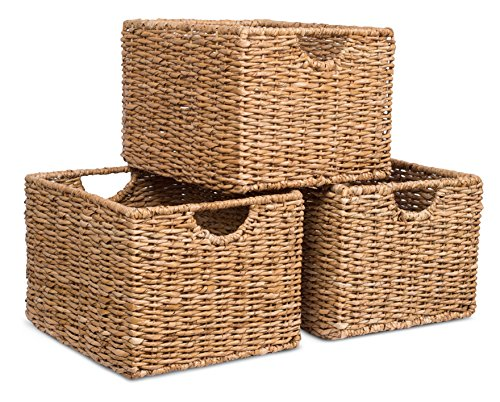 BIRDROCK HOME Storage Shelf Organizer Baskets with Handles - Set of 3 - Seagrass Wicker Basket - Pantry Living Room Office Bathroom Shelves Organization - Under Shelf Basket - Handwoven (Natural)