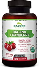Zazzee USDA Organic Cranberry Extract, 12,500 mg Strength, 100 Veggie Caps, USDA Certified Organic, Potent 25:1 Extract, Made from Fresh Whole Organic Cranberries, Vegan, All-Natural and Non-GMO