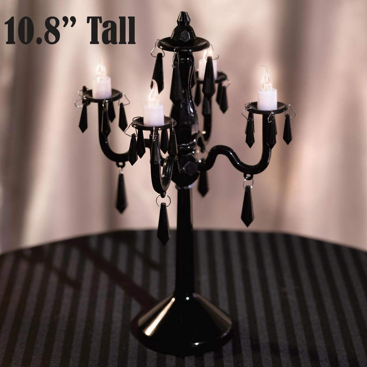 Anderson S Plastic Chandelier Centerpiece 10 8 Inches High 4 Candelabra Arms 4 Battery Operated Led Candles Black Health Personal Care