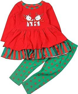 Baby Girls Christmas 2pcs Pant Clothing Set Long Sleeve Deer Fall Outfits