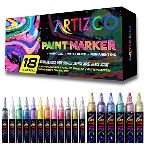 ARTIZCO Acrylic Paint Pens for Rock Painting, 18 Pack Paint Pens Comes with Acrylic Markers, Metallic & Glitter, 0.7mm - 3 mm Tips, DIY Craft Paint Pens for Rock Painting, Stone, Ceramic, Glass, Wood