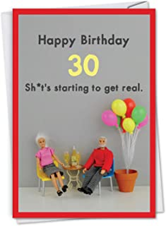 Get Real 30 - Milestone Birthday Card with Envelope (4.63 x 6.75 Inch) - With dolls celebrating a milestone C7320MBG