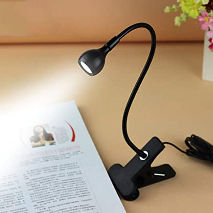 Rrimin USB Flexible Reading LED Light Clip-on Beside Bed Table Desk Lamp (White Light Black)