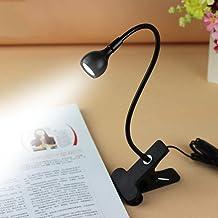 Rrimin Bulfyss USB Flexible Reading LED Light Clip-on Beside Bed Table Desk Lamp (White, Light Black)
