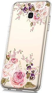JAWSEU Funda Compatible con Samsung Galaxy J4 Plus 2018 Transparente Suave TPU Silicona Gel Funda con Dibujos Animados Diseño Ultra-Delgado Anti-arañazos Protectora Carcasa,Rosa roja