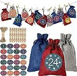 Calendario Dell'Avvento Sacchetti Natalizi, HOMEK 24 Pezzi Calendario Natale Buste Regalo con 24 Adesivi, Calendario Dellavvento Sacchetti Regalo Adesivi Natale